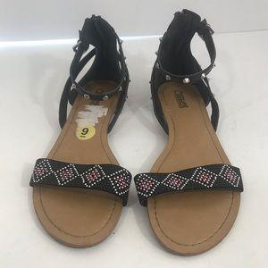Carlos Santana size 9 beaded flat black  sandal